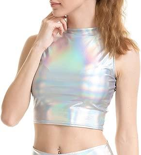 VZEXA Womens Tank Top Wrap-Around Faux Patent Leather Vest Wet Look Shiny Metallic Top