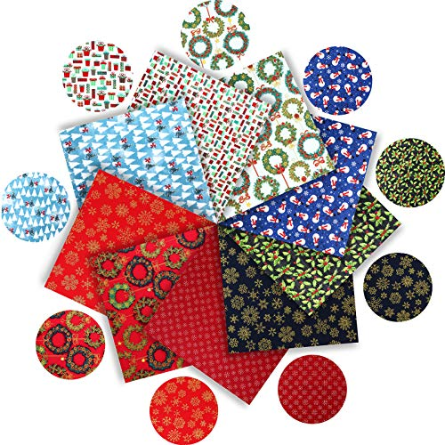 9 Pieces Christmas Cotton Bronzing Fabric Christmas Fat Quarters Sewing Bundle Fabric Includes 5 Pieces 19.7 x 19.7 Inch Snowman Print Fabric, 4 Pieces 9.8 x 9.8 Fabric Bundles for DIY Craft