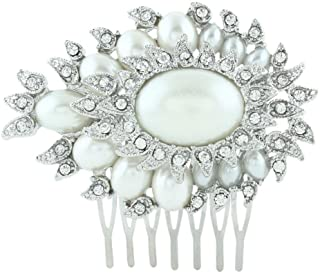 EVER FAITH Bridal Silver-Tone Flower Leaf Oval Simulated Pearl Hair Comb Pin Austrian Crystal