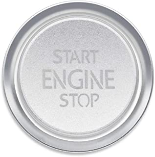 Ceyes Silver Engine Start Stop Switch Button Car Push to Start Button Trim Cover + Ring Auto Engine Ignition Start Stop Button Ignition Switch Button Sticker for Volkswagen VW CC