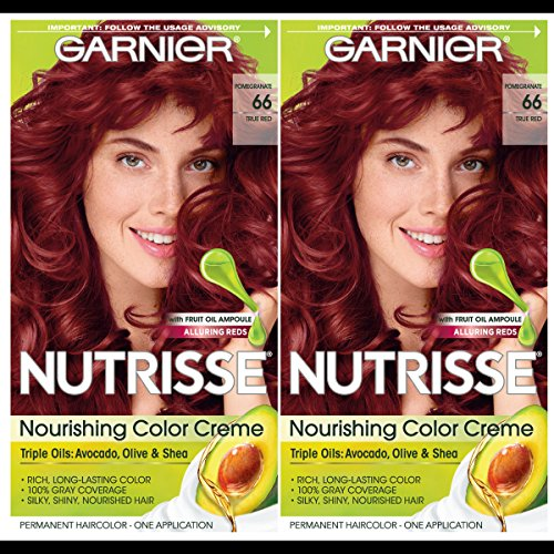 Garnier Hair Color Nutrisse Nourishing Creme, 66 True Red (Pomegranate), 2 Count