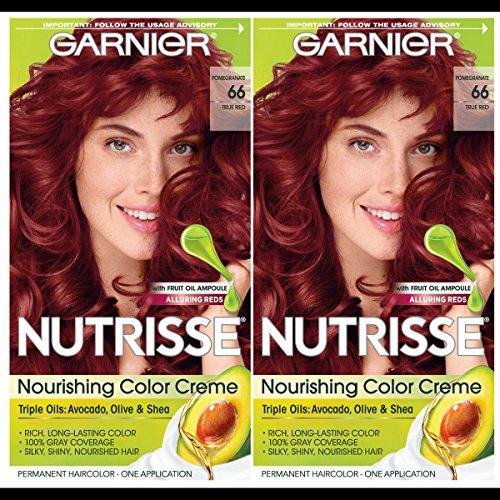 Garnier Hair Color Nutrisse Nourishing Creme, 66 True Red (Pomegranate), 2 Count
