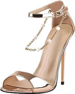 Women's Open Toe Chains Buckle Ankle Strap Dress Sandals