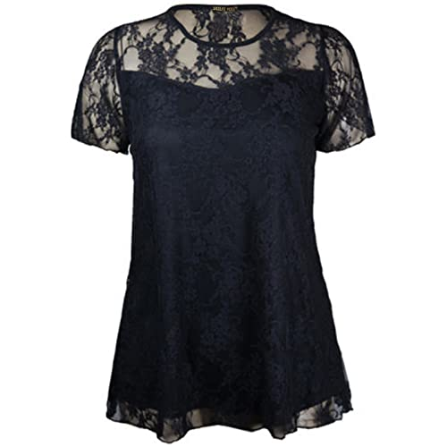 c3b1732d86642e New Womens Floral Lace Short Sleeve Ladies Flower Lined Patterned Stretch T- Shirt Tunic Party