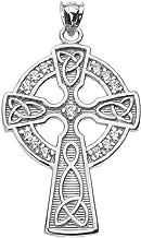 14k White Gold Celtic Cross Diamond Accent Pendant