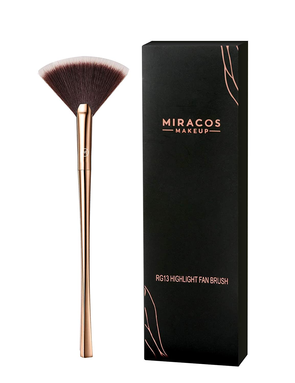 Brush Master Fan Makeup Brush, Professional fluffy Highlighter Contour Powder Blending Brush(Champagne Gold) : Beauty & Personal Care
