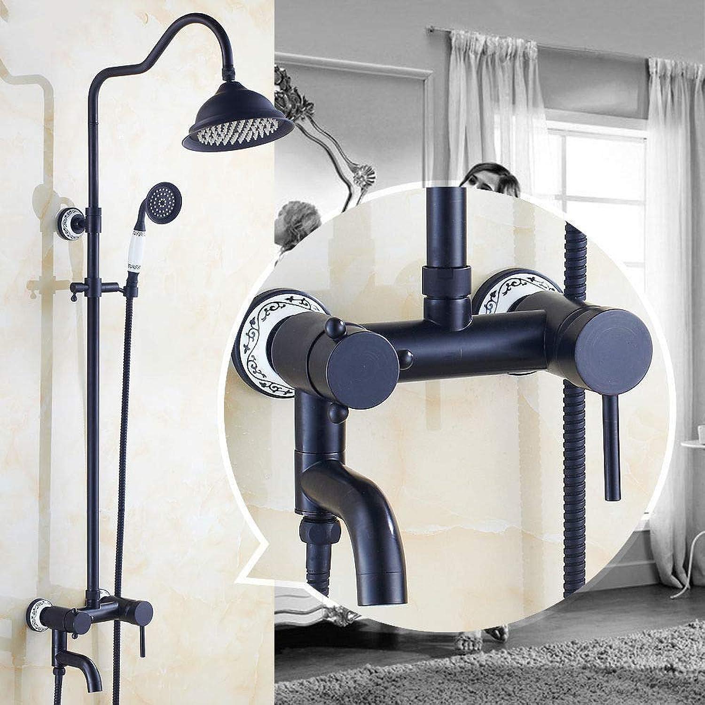 GFF Dusche Antike Dusche Duschset European American Retro Doppeldusche Dusche Schwarz Bronze Telefon Hebedusche Badewanne Dusche Mischbatterie