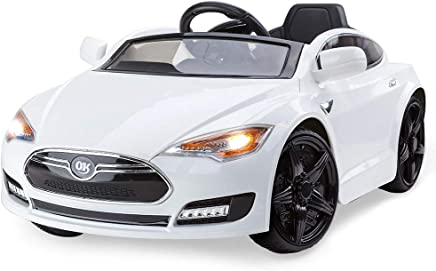 Rovo Kids Tesla Model S Inspired 6v Ride On Car with Charger and Remote Control, White