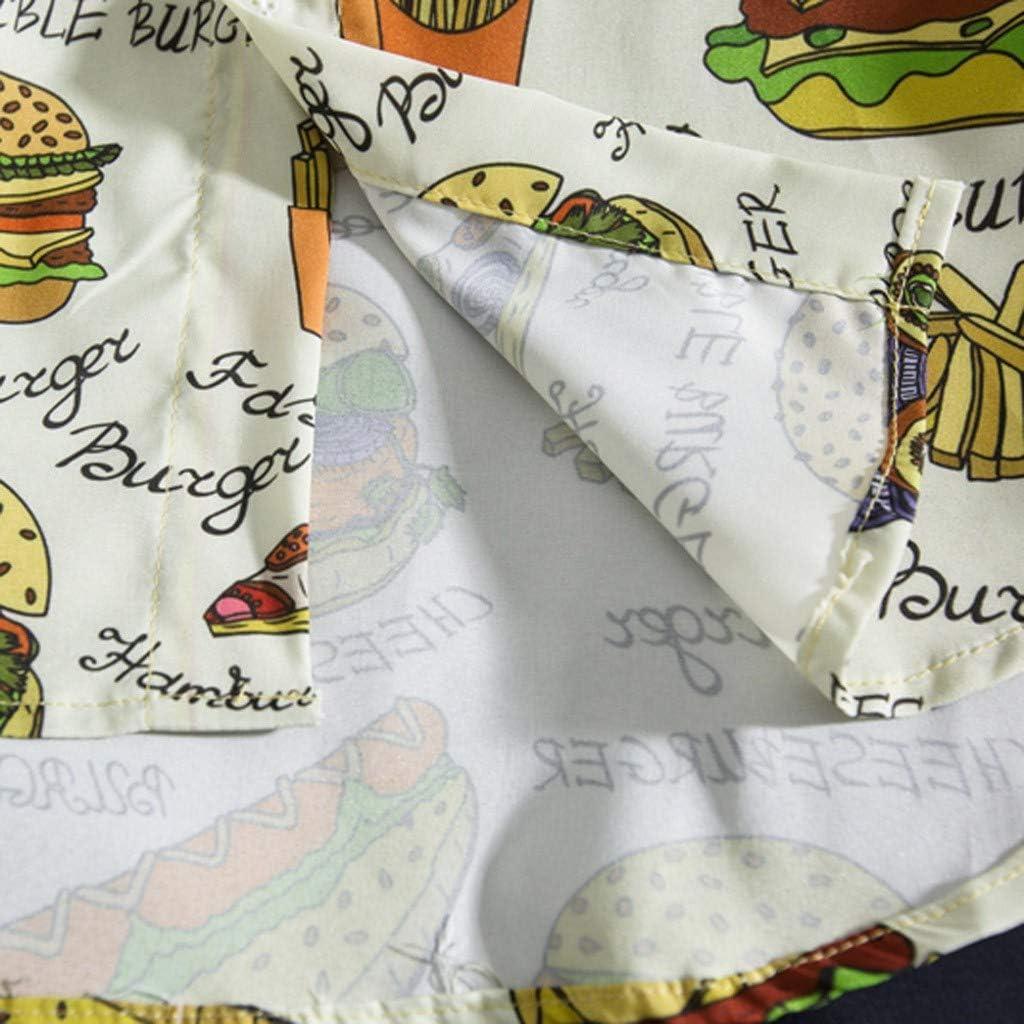 Hamburger Printed Shirts for Men Forthery Summer Fashion Shirts Casual Short Sleeve Beach Tops Loose Casual Top