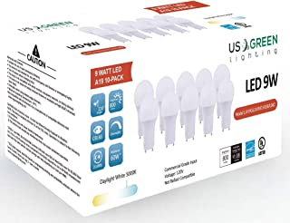 (10 Pack) LED GU24 Twist-in Base A19 Light Bulb, 9W (60W Equivalent), Energy Star, Dimmable, Bi-pin, 5000K (Daylight White), 800 Lumens, UL Listed.