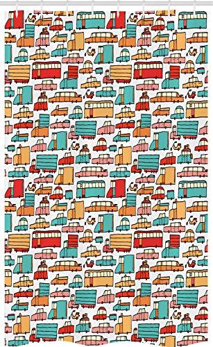 ABAKUHAUS Cars Douchegordijn, Motoren Caravans Bus, voor Douchecabine Stoffen Badkamer Decoratie Set met Ophangringen, 120 x 180 cm, Aqua Red Orange
