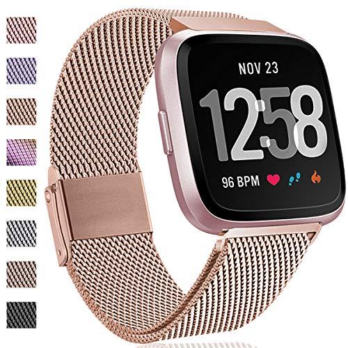 Hamily Kompatibel für Fitbit Versa Armband/Fitbit Versa 2, Metall Ersatzarmbänder mit Starkem Magnetverschluss für Fitbit Versa/Versa 2/Versa Lite/SE Smartwatch, Groß Royal Gold