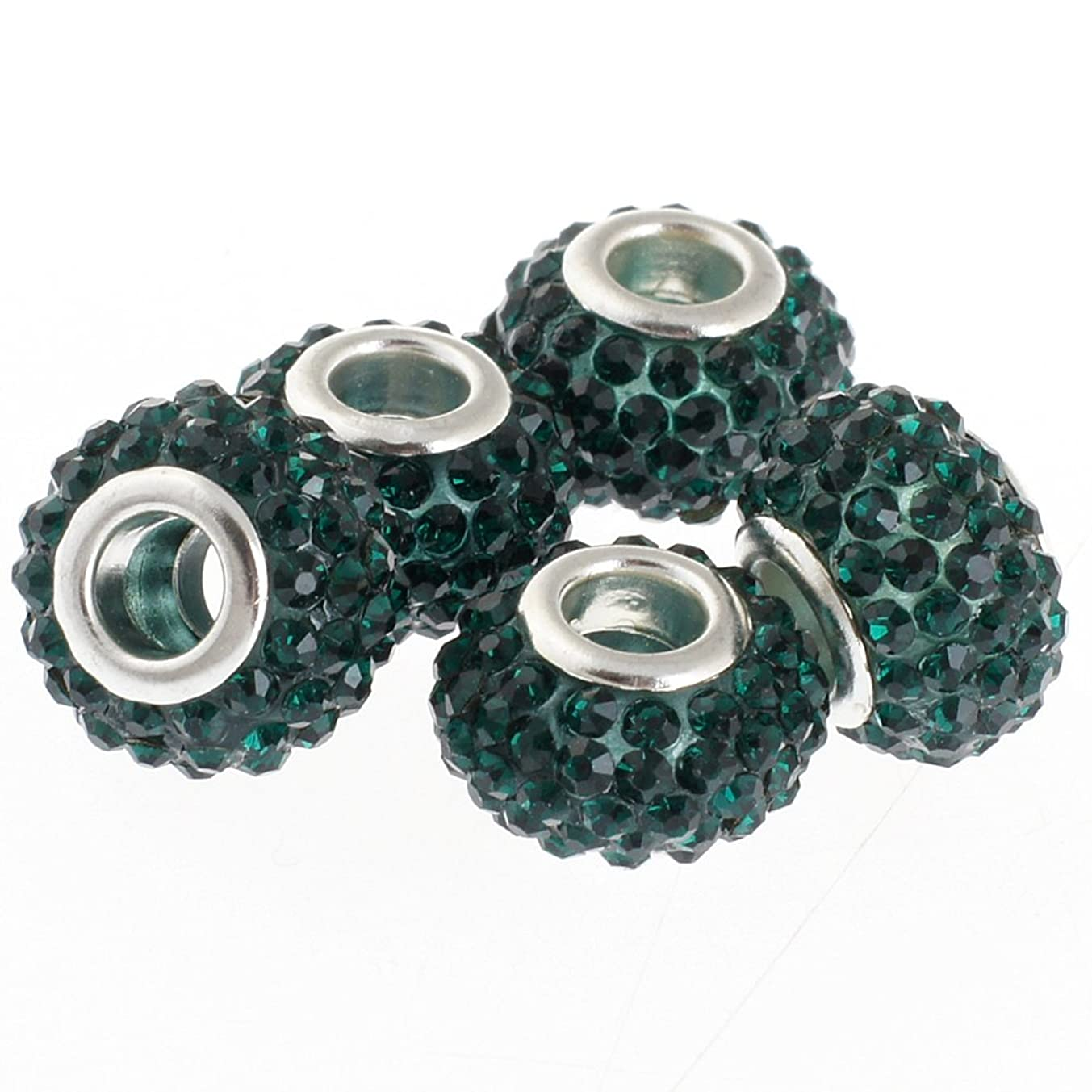 RUBYCA Big Hole Handmade Czech Crystal Slide Beads fit European Charm Bracelet (10pcs, Green, 11mm)