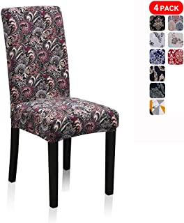Stretch Jacquard Print Removable Washable Short Dining Chair Covers Seat Slipcover Furniture Protector for Hotel, Dining Room, Kitchen, Banquet Wedding Party (4 Per Set, Dance Phoenix-Tail Pt)