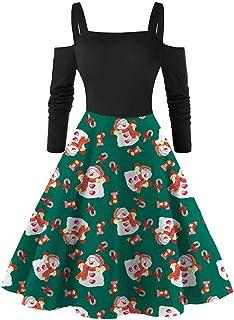Dainzuy Women Christmas Off Shoulder Dress Santa Claus Snowman Print Long Sleeve Cocktail Party Dress Vintage Swing Dress