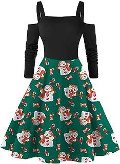 Vestiti di Natale delle Donne Lunga Maniche Elegante Abito Natale Vestito da Donna Stampa Natalizio Midi Abito Vintage Abiti da Santa Natale Party Festa Matrimonio Cocktail Swing Vestito