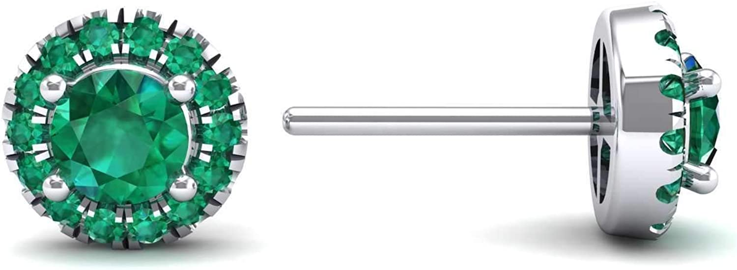 3djewels Women's 1.26 Cts Round Emerald Halo Earring In 14K White gold Finish Silver 925