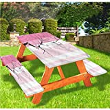 LEWIS FRANKLIN - Cortina de ducha japonesa de lujo para picnic, diseño de árbol con flores rosadas con borde elástico, 28 x 72 pulgadas, juego de 3 piezas para mesa plegable