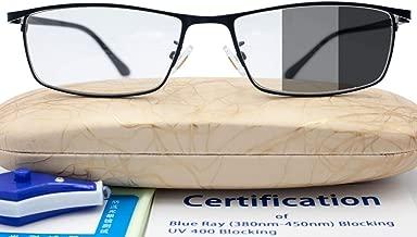 Blue Light Uv Blocking Photochromic Glasses Computer Men Anti Eye Strain Gaming Glasses Gamer Screen Glare Blocker Lens Filter Wide 55mm Black Rim Rectangle Metal Frame Sunglasses Nose Pad Tr90 Drive