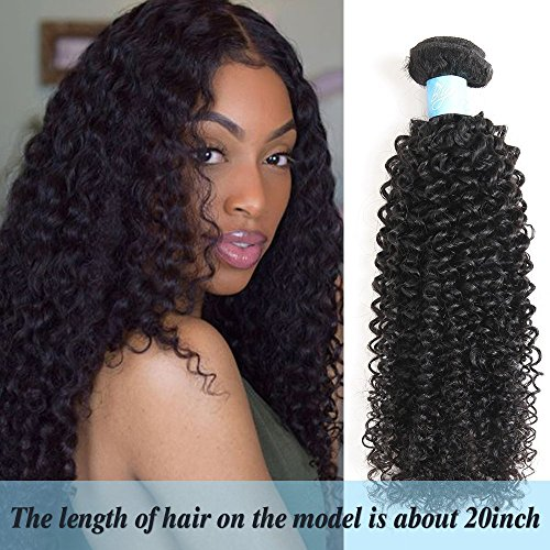 BLY 7A Mongolian Virgin Kinky Curly Human Hair Bundles Extensions 4 Bundles Unprocessed Curly Weave Natural Black Hair (16/18/20/22 Inch)