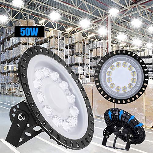 50W LED UFO Industrielampe,Xgody 5000LM LED Hallenstrahler,Ultra Slim High Bay Licht mit Kaltweiß 6000-6500K,IP65 Hallenleuchte Industrial Kronleuchter Werkstattbeleuchtung für Fabrikhallen