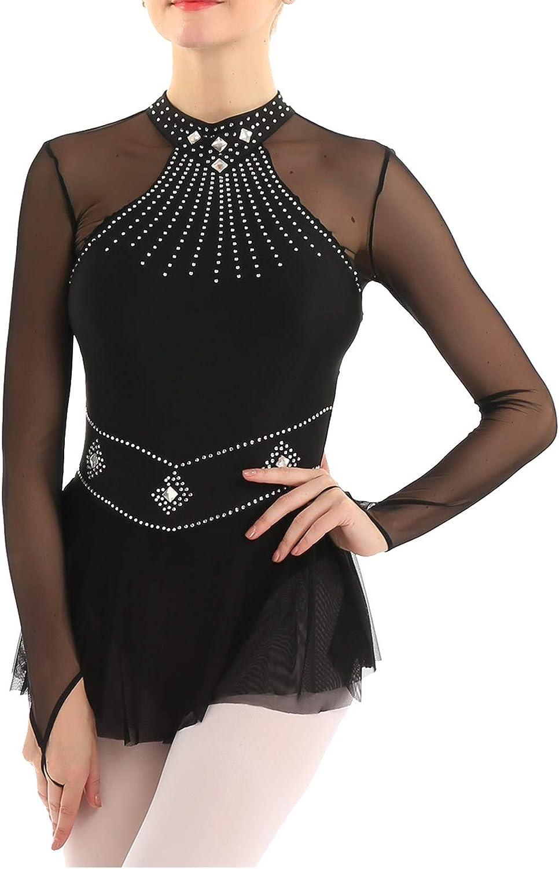 Time sale iiniim Figure Skating Dress Fingertip Ice S Fixed price for sale Sleeved Long