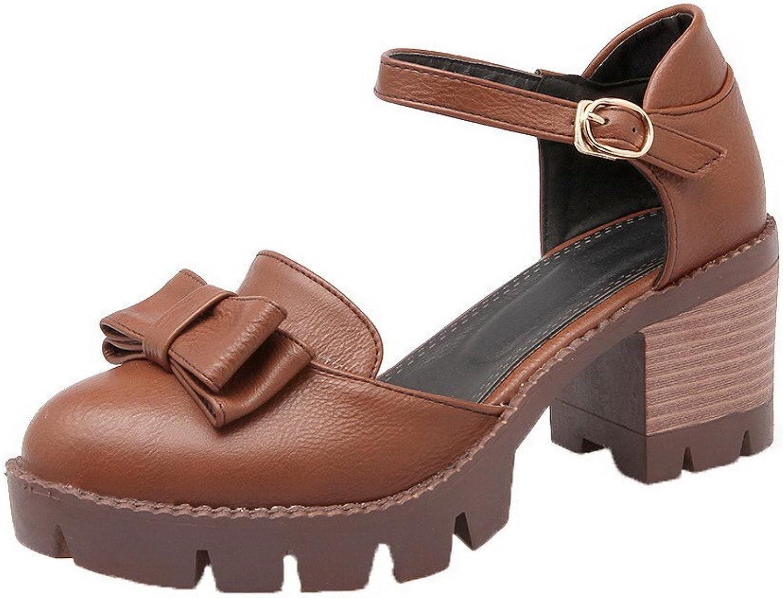 WeenFashion Women's Buckle Kitten-Heels Pu Solid Pumps-shoes