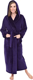 Alexander Del Rossa Women's Warm Fleece Robe with Hood, Long Plush Printed Bathrobe