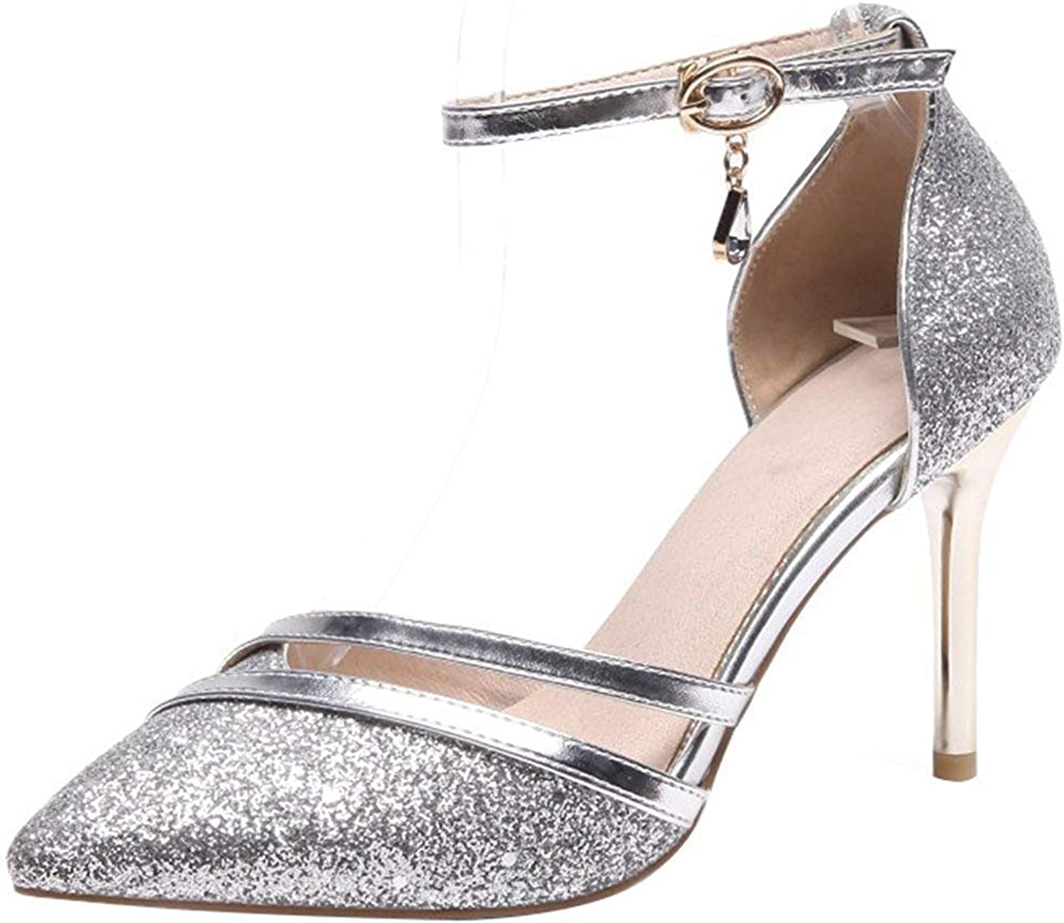 Lelehwhge Women's Sexy Pointed Toe Sequined Sandals - Buckle Ankle Strap Pendant - Stiletto High Heels Club shoes Silver 7.5 M US
