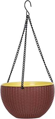 AASHU self Watering Hanging Flower pots for Balcony,Planter pots Hanging with Chain (size-10 inch,Color-Brown)- Pack of 1