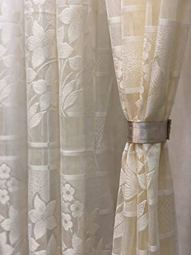 Harshika Home Furnishing Polyester & Polyester Blend Floral Curtain, 4 X 7 Feet, Cream