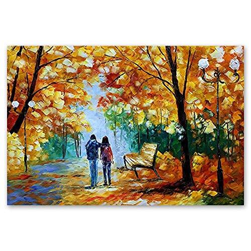 Impresiones Sobre Lienzo Paisaje de la noche de la calle del otoño Pintura al óleo Cuchillo de paleta pintado a mano Arte de pared con textura sobre lienzo Sin marco Pinturas de pared Obra de arte