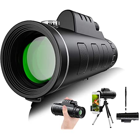 T/élescopes Monoculaires Puissant 40x60 Monoculaire HD Haute Puissance Claire Compact Scope Vision Nocturne /étanche avec Support pour Smartphone et tr/épied pour Chasse lobservation Observer