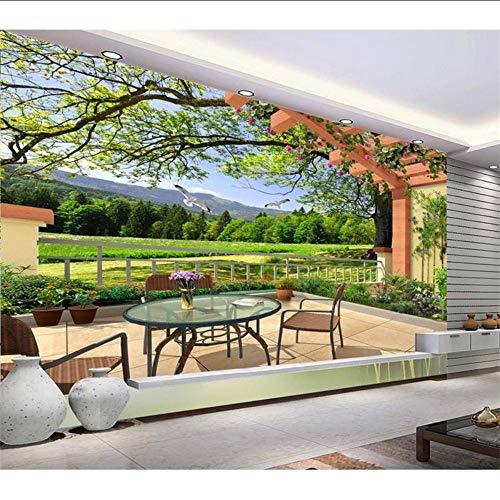 Aangepaste 3D-muurschildering behang vliesbehang duiven veld landschap woonkamer TV achterwand beddengoed kamer 3D fotobehang 200 x 140 cm.