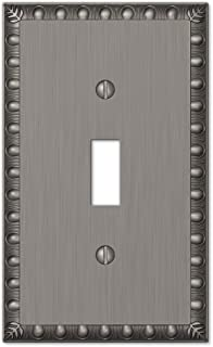Amerelle Egg & Dart Single Toggle Cast Metal Wallplate in Antique Nickel