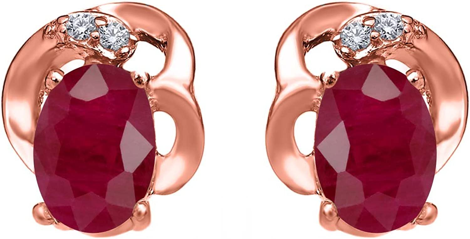 1.25 Ct Oval Red Ruby 18K pink gold Plated Silver Earrings