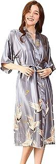 ZAPZEAL Damen Seide Morgenmantel Bademantel Elegant Langarm Nachtkleid V Ausschnitt Sleepwear Nachtwäsche