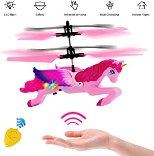 Minaliv Flying Unicorn Toys,RC and Hand Control Flight Helicopter Unicorn Fairy Toy Doll,Infrared Sensor Control Remote Control Child Toy,Birthday Holiday Xmas Party Supplies (Pink )