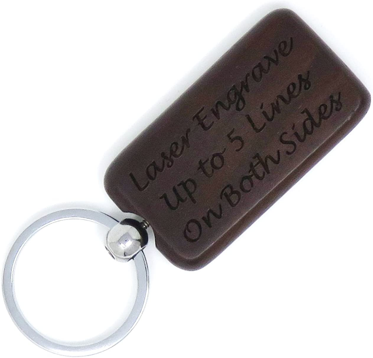 Custom Engraved Rectangle Key Chain - Key Ring - Front & Back Engraved - Personalized