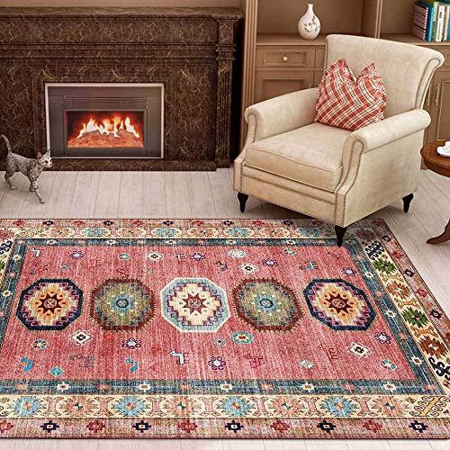 Teppich Moderner Wohnzimmer Große Area Rugs Geometrisches ethnisches Rosa Schlafzimmer Zimmer Teppich Sofa Tisch Kind Krabbeln Matte 100x160CM (3ft28''x5ft3)