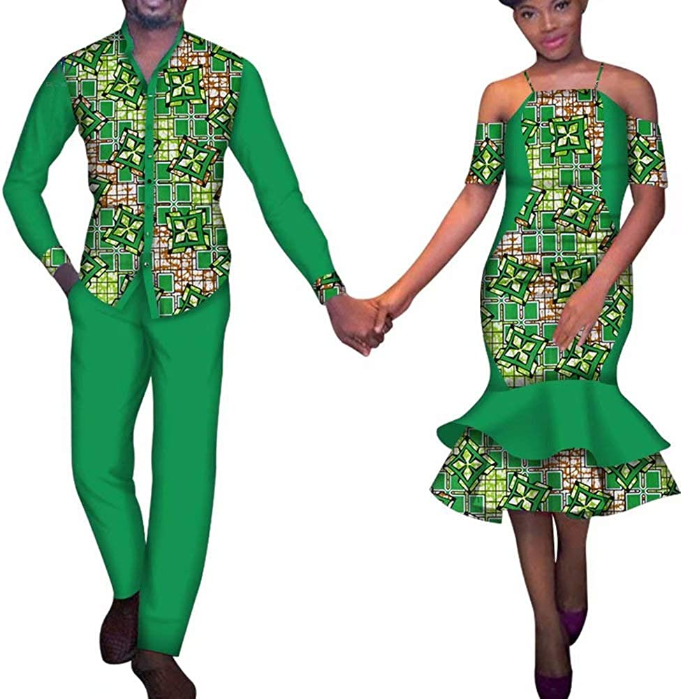 iooiooi African Couple's Clothes African Dress for Women Bazin Riche Long Evening Dresses African Men Suits