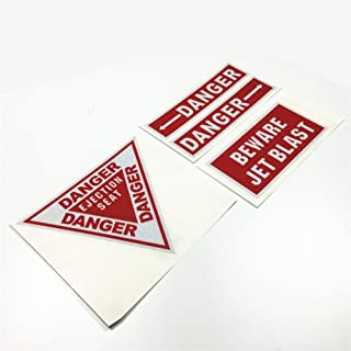4PCS Warning DANGER Reflective Car Stickers BE WARE EJECTION SEAT JET BLAST Motorcycle Vinyl Decals 3M