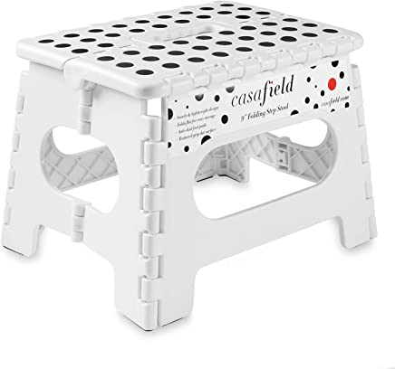 Casafield 9 Folding Step Stool with Handle,  White - Portable Collapsible Small Plastic Foot Stool for Kids and Adults - Use in The Kitchen,  Bathroom and Bedroom