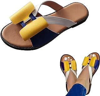 Hengyuan Pantoufles de Sandales à la Mode pour Femmes, Sandales à glissière à Fond Plat Confortables, Chaussures d'été à l...