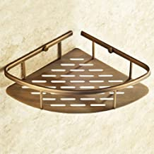 YAeele Badkamer plank antieke koperen Corner Douche Caddy Basket badkamer opberg Shelf Rack Badkamer Basket Holder Wandmon...