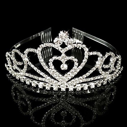 SudaTek Child Crystal Tiara Crown for Kids Girls, Sparkling Princess Costume Crown with Comb