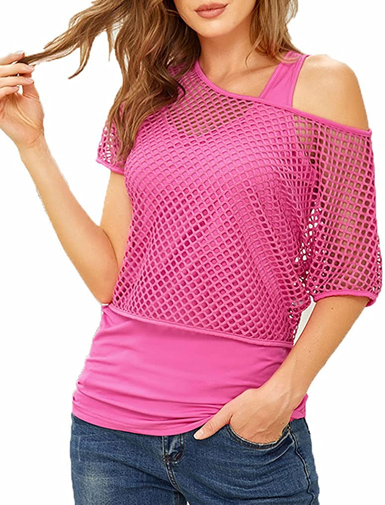Ladmous Women's 80s Costumes Casual Sexy Fishnet Neon Shirt Off Shoulder Top