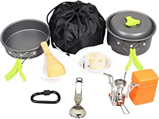 Goetland 16 Pcs Camping Cookware Set Mess Kit Backpacking Cookset Outdoor Hiking Picnic Non-Stick Cooking Anodized Aluminu...