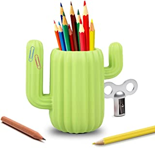 LUCKSTAR Pen Holder - Cactus Pen Container Desk Supplies Organizer Pen Holder Desktop Organiser Pencil Pot Stationery Desk Tidy Pencil Container Organizer Office Stationery Supplier Gift