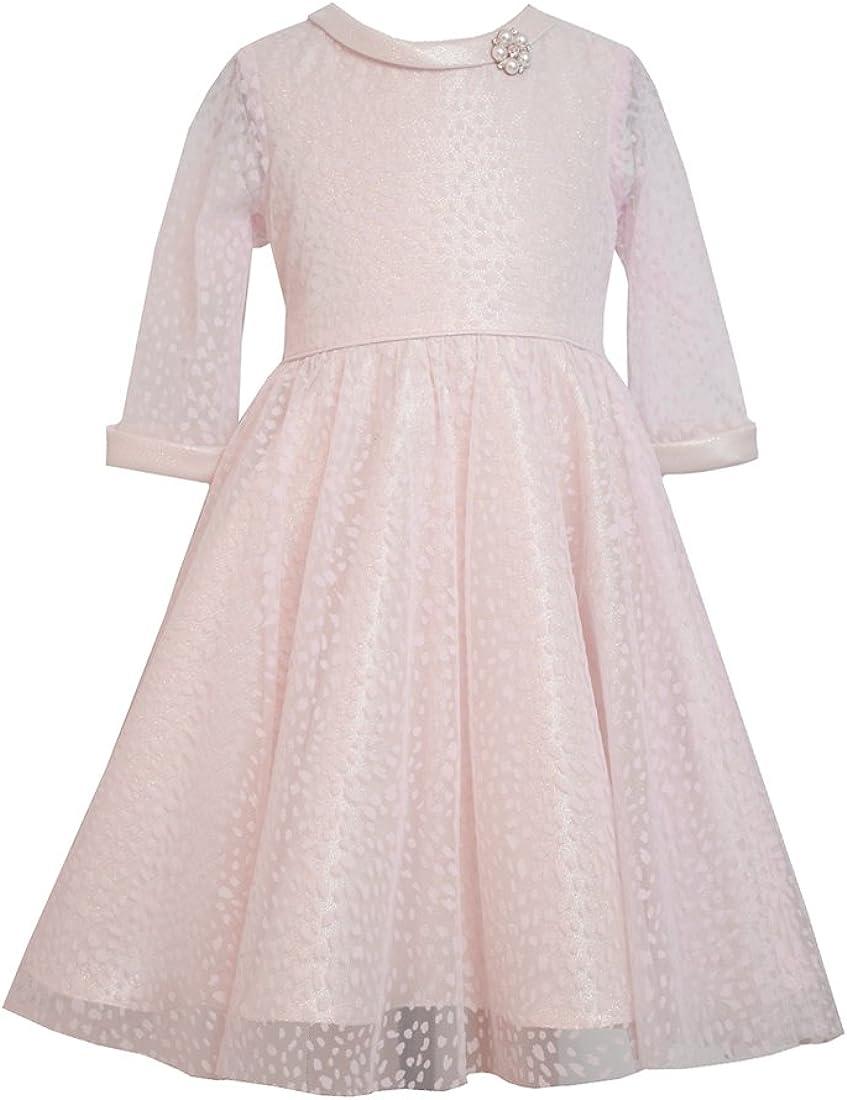 Little Girls Pink/Gold Flock Mesh 3/4-Sleeve Fit Flare Dress